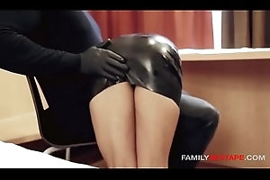 Oiled Up Step-Daughter Gets Massaged Wide of Old man In Latex Gloves