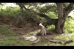 girl play with pussy outside and native land