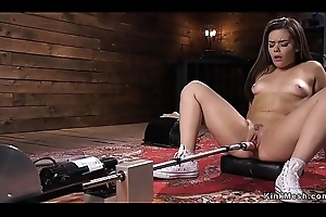 Smarting haired babe bonks gadget