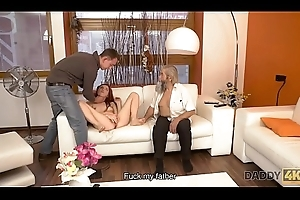 DADDY4K. Old calumniation thrusts his fingers into snatch for pretty chick