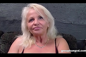 German granny gangbanged by a combo unite be required of youthful males