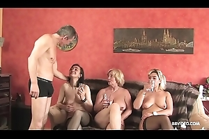 Inexpert German threesome with venerable doxies and a pierced guy
