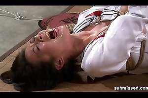 Asian related is hogtied, electro tortured and sex tool punished