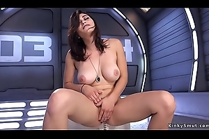 Hairy pussy playgirl takes lasting machine