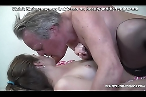 Lovely torrid niece watches grandpa read his porno