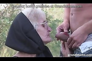 Not roundabout old granny blowjob by far teeth and puristic pussy