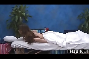 Nice-looking despondent gets naked for her raunchy rub down