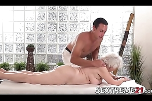 Horny granny Norma needs juvenile fast cock chiefly a massage table