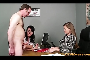 Office babes jerking off detect at near CFNM fetish